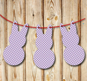 Purple pennants in the shape of easter bunnys with ...  | Free printable for Easter