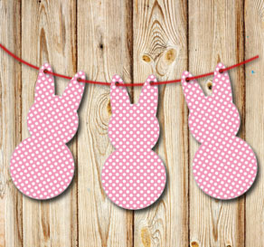 Pink pennants in the shape of easter bunnys with wh...  | Free printable for Easter