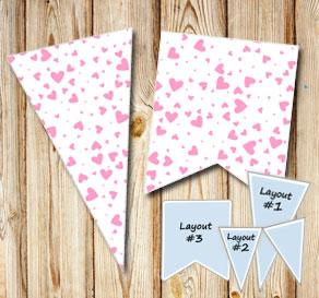 Pennants with light pink  hearts  | Free printable for Valentines day