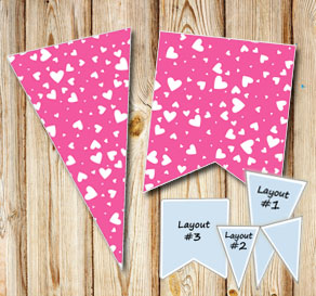 Pink pennants with white hearts  | Free printable for Valentines day