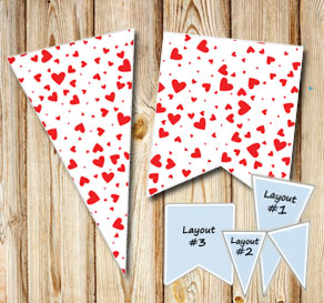 Pennants with red hearts  | Free printable for Valentines day