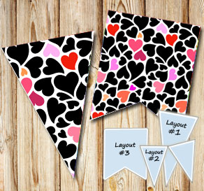 Pennants with black, red and pink hearts  | Free printable for Valentines day
