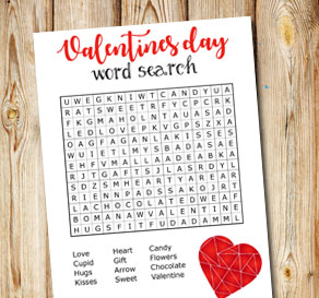 Word search for Valentines day  | Free printable for Valentines day