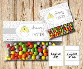 Bag toppers Happy Easter with grey hexagon pattern  | Free printable for Easter