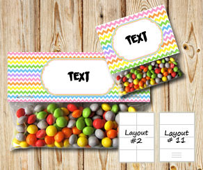 Chevron pattern bag toppers with light rainbow colors  | Free printable bag topper