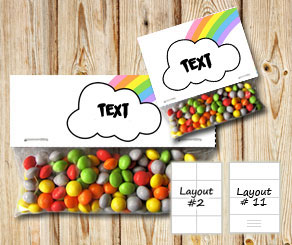 Bag toppers with cloud and a light rainbow  | Free printable bag topper
