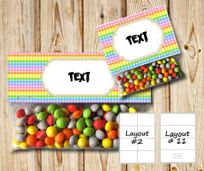 Dotted bag toppers with light rainbow colors  | Free printable bag topper