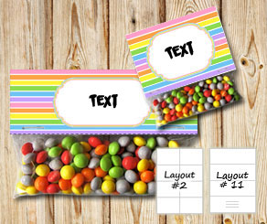 Striped bag toppers with light rainbow colors  | Free printable bag topper