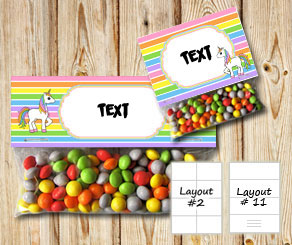 Striped bag toppers with light rainbow colors and a...  | Free printable bag topper