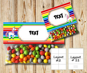 Striped bag toppers with rainbow colors and a unico...  | Free printable bag topper