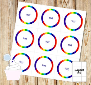 Striped cupcake toppers in rainbow colors with text 1  | Free printable cupcake wrappers and toppers