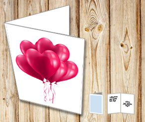 White card with red heart shaped balloons  | Free printable for Valentines day