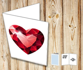 White card with a red heart shaped gem  | Free printable for Valentines day
