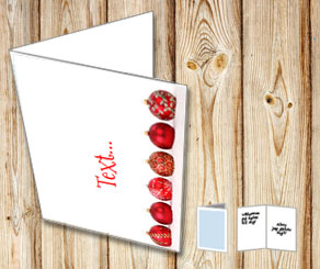 Christmas card with christmas baubles in a row  | Free printable for Christmas