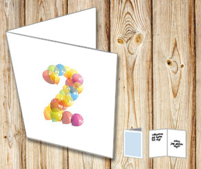 White card with balloon numbers  | Free printable card
