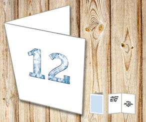 White card with crystal numbers  | Free printable card