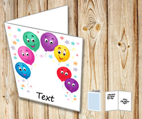 Birthday cad with happy balloons and text  | Free printable card