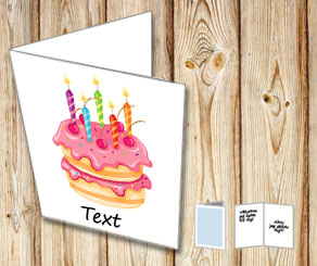 White card with birthday cake 3  | Free printable card