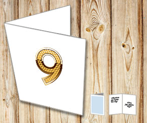 White card with golden numbers  | Free printable card