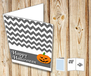 Grey Halloween card with a pumpkin  | Free printable for Halloween