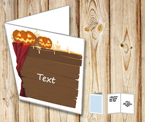 Card with a Halloween sign and your text  | Free printable for Halloween