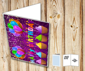 BIrthdaycard with cupcakes  | Free printable card