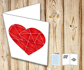 White card with red graphic heart  | Free printable for Valentines day