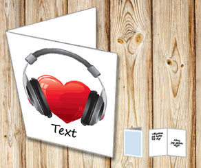 White card with a heart with headphones  | Free printable for Valentines day