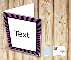 Card with purple and black striped frame  | Free printable card