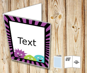 Card with monsters and a purple and black striped f...  | Free printable for Halloween