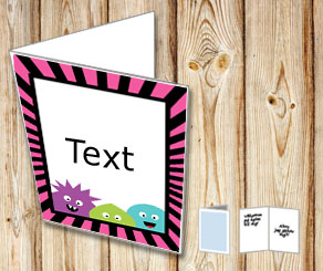 Card with monsters and a pink and black striped frame  | Free printable for Halloween