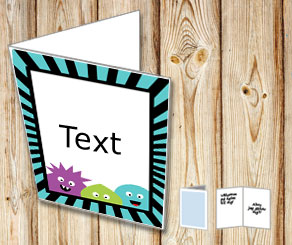 Card with monsters and a turquoise and black stripe...  | Free printable for Halloween