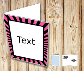 Card with pink and black striped frame  | Free printable card