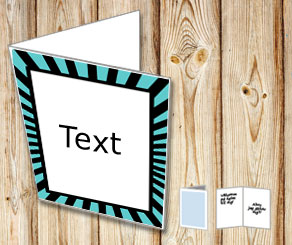 Card with turquoise and black striped frame  | Free printable card