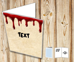 Card in old vintage paper with dripping blood  | Free printable for Halloween