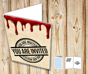 Card in old vintage paper with dripping blood: You ...  | Free printable for Halloween