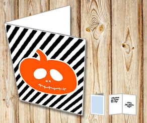 Halloween card with orange pumpkin  | Free printable for Halloween