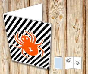 Halloween card with orange spider  | Free printable for Halloween