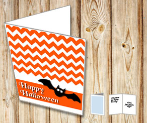 Orange Halloween card with a bat  | Free printable for Halloween