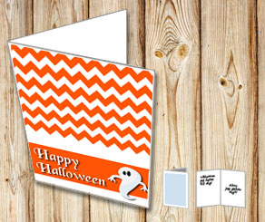 Orange Halloween card with a ghost  | Free printable for Halloween