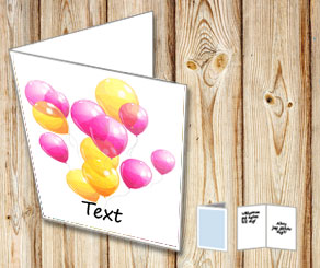 White card with pink and yellow balloons  | Free printable card