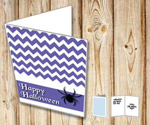 Purple Halloween card with a spider  | Free printable for Halloween