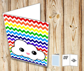 Chevron pattern  card with rainbow colors and a cloud  | Free printable card