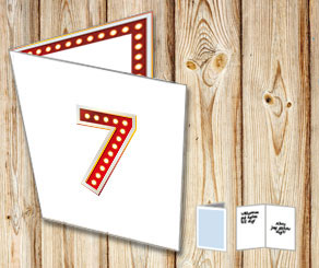 White card with showlight numbers  | Free printable card