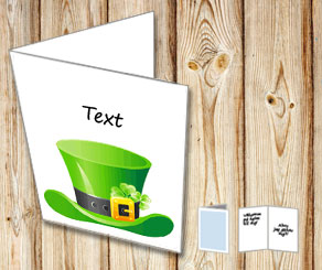 White St Patricks Day card with a green hat  | Free printable for St Patricks day