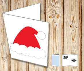 Card with a santa hat  | Free printable for Christmas
