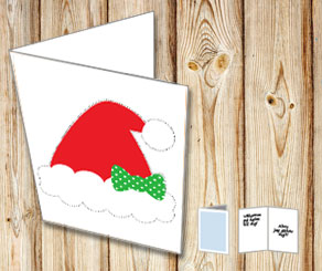 Card with a santa hat and a bow  | Free printable for Christmas