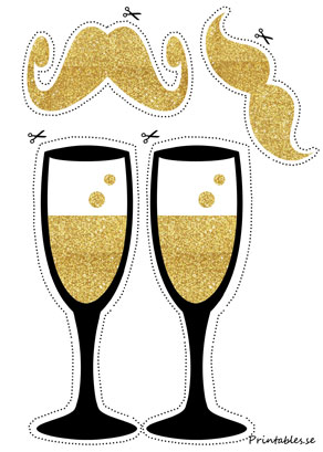 Photo booth props: Champagne and mustaches  | Free printable for New Years Eve