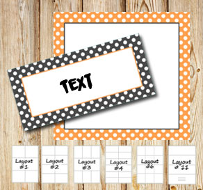 Grey and orange labels with white dots  | Free printable labels