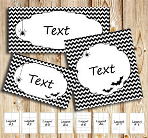 Halloween labels with a black and white chevron pat...  | Free printable for Halloween